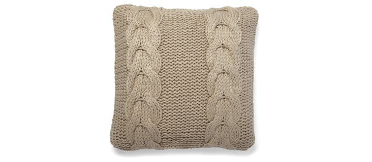 Cable-Knit 20x20 Pillow, Camel