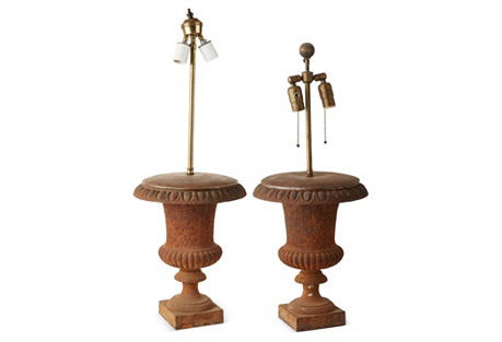 French Iron Urn Lamps, Pair