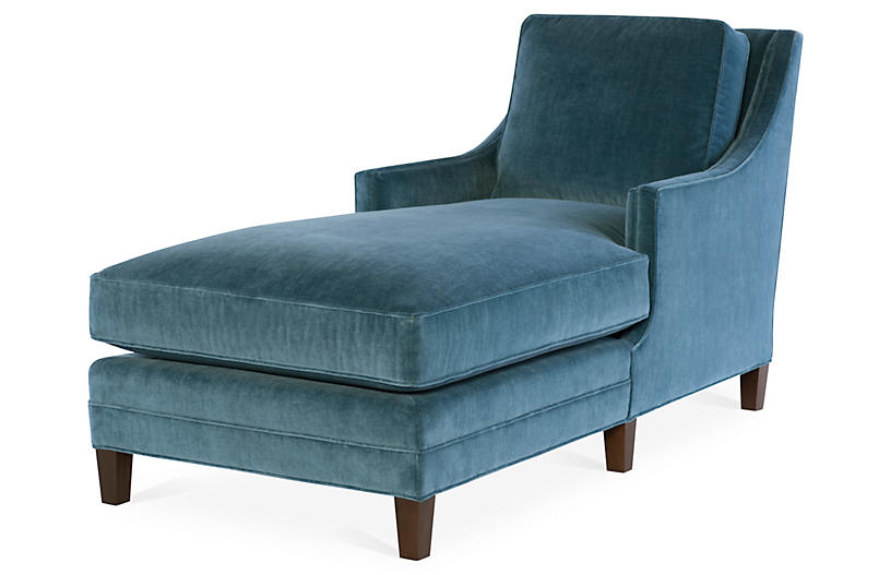 Salon chaise harbor blue velvet joe ruggiero collection for Blue velvet chaise