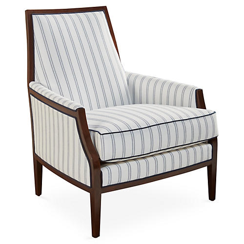 Bergen Accent Chair, Navy Stripe Sunbrella