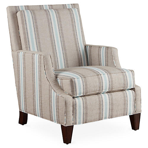 Sloane Club Chair, Blue Sunbrella
