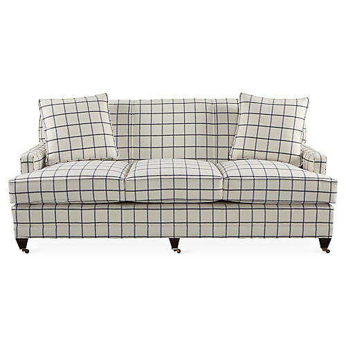"Maxfield 75"" Sofa, Blue Plaid"