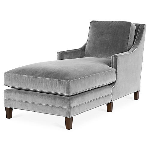 Salon Chaise, Gray Velvet