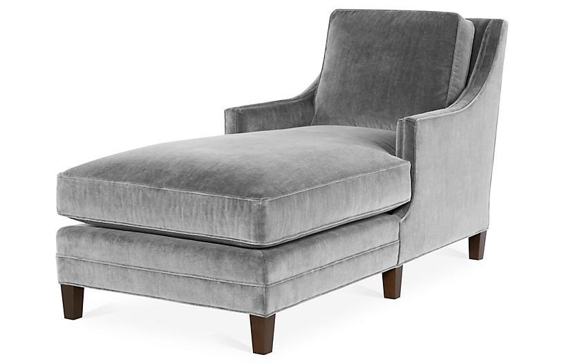 Salon Chaise, Gray Velvet