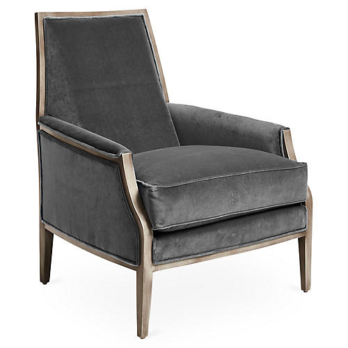 Bergen Accent Chair, Charcoal Velvet