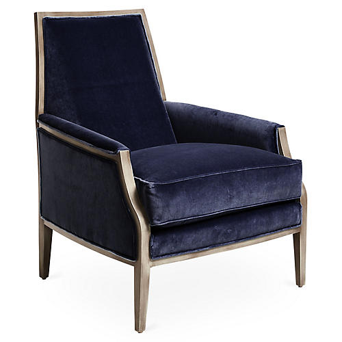 Bergen Accent Chair, Navy Velvet