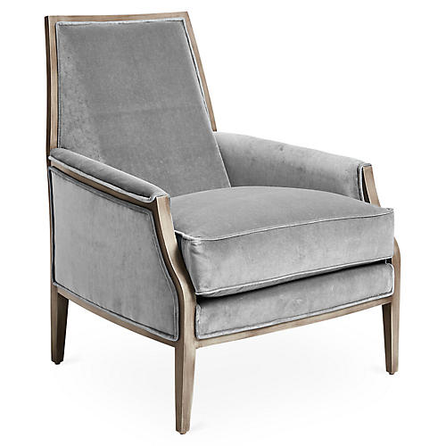 Bergen Accent Chair, Gray Velvet