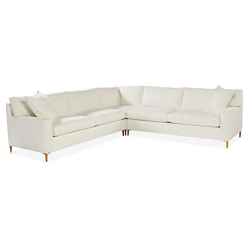Tribeca Sectional, White Sunbrella