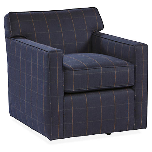 Kelton Swivel Club Chair, Navy Sunbrella