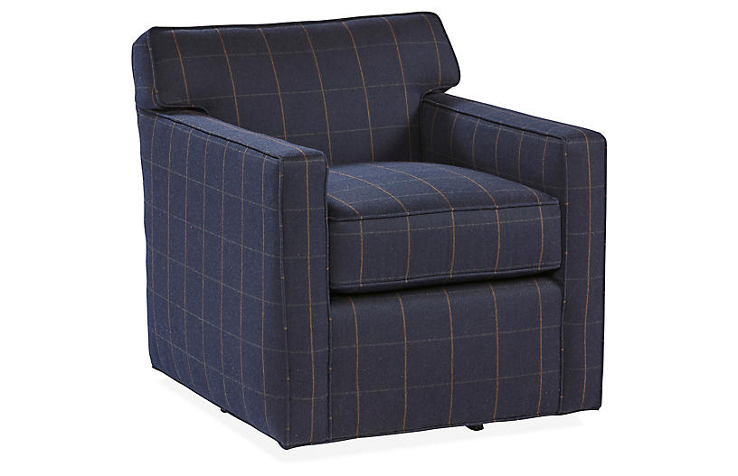 Kelton Swivel Chair, Navy Sunbrella