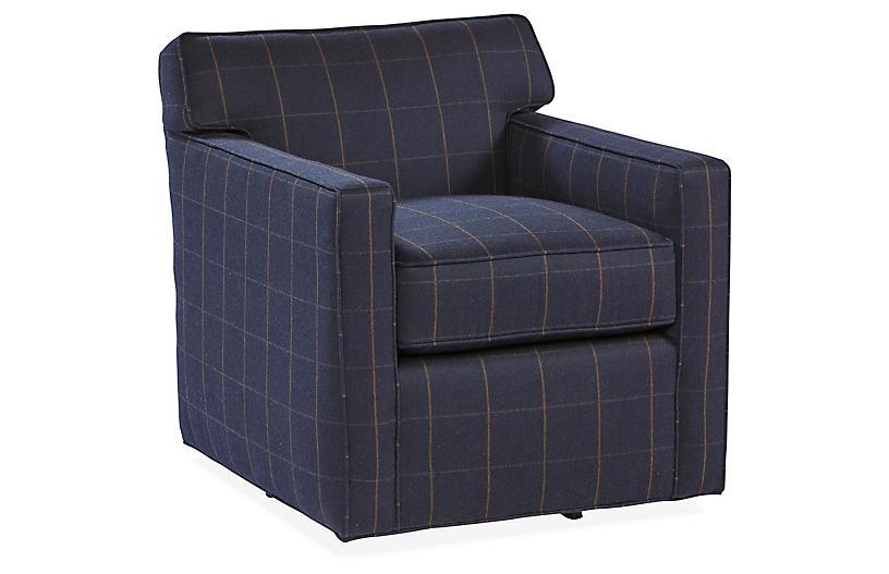 Kelton Swivel Chair, Navy Sunbrella