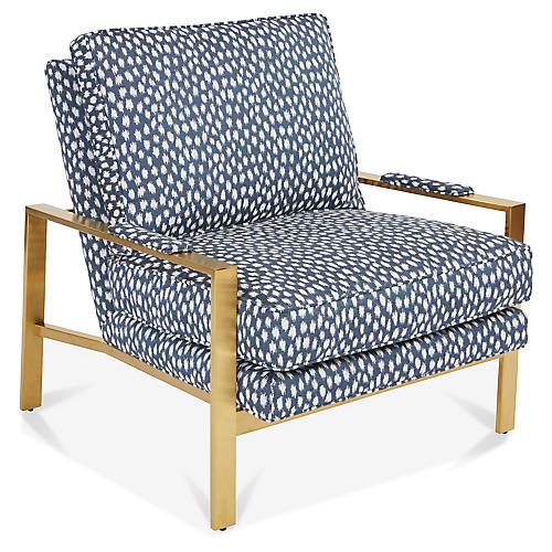 Frank Accent Chair, Indigo/White Sunbrella
