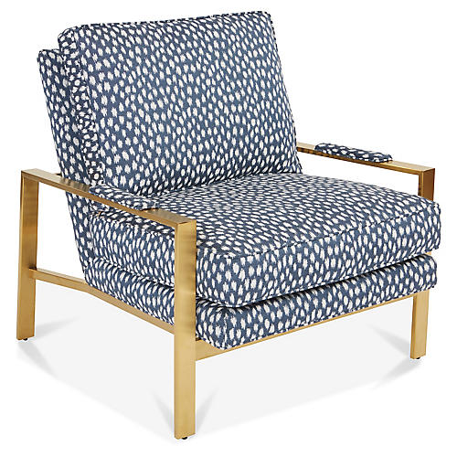 Frank Accent Chair, Indigo/White Sunbrella