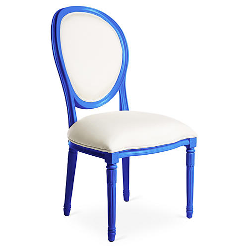 Melrose Outdoor Side Chair, White/Cobalt Sunbrella