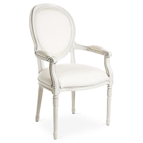 Melrose Outdoor Armchair, White Sunbrella