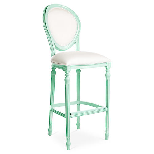 Melrose Outdoor Barstool, Mint/White Sunbrella