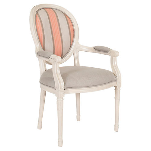 Melrose Outdoor Armchair, Beige/Pink Sunbrella