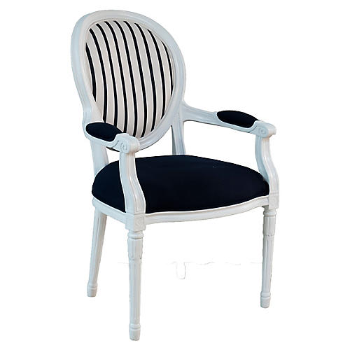 Melrose Outdoor Armchair, Navy/White Sunbrella