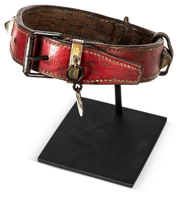 Vintage Dog Collar on Stand