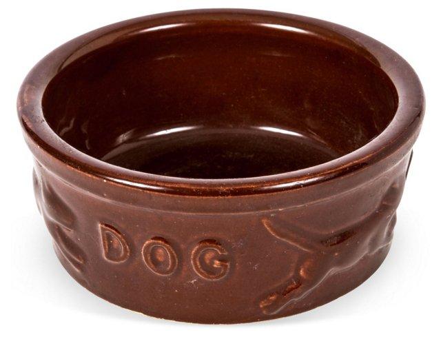 Burgundy Ceramic Dog Bowl