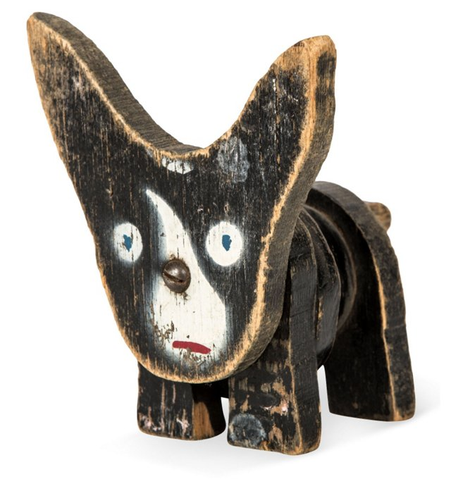 Folk Art Wood Dog