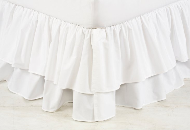Poplin Double Layer Bed Skirt, White