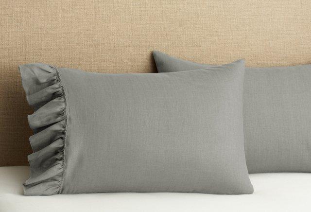 S/2 Tattered Ruffle Pillowcases, Gray