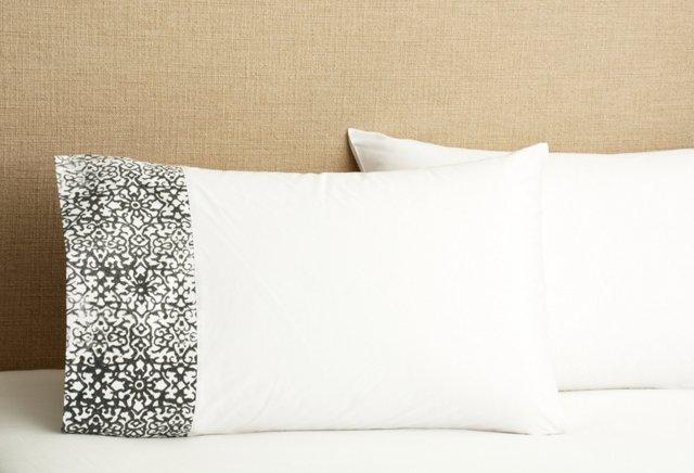 S/2 Souk Block Print Pillowcase, D. Gray