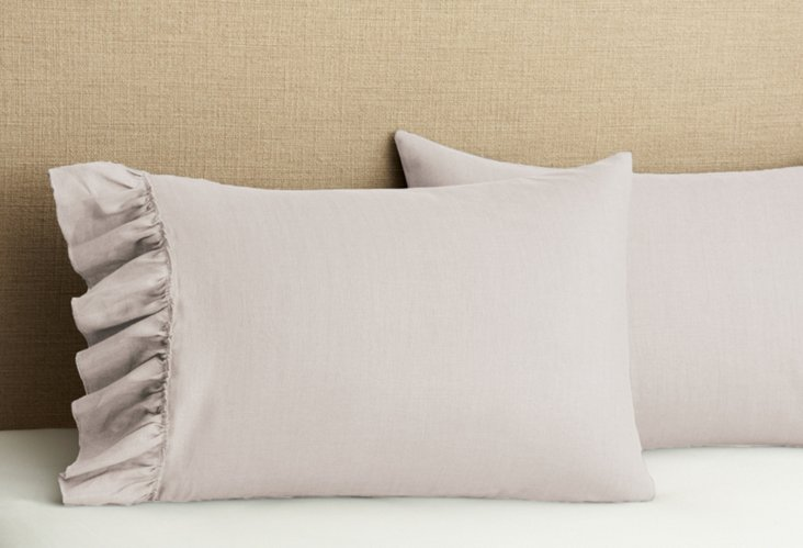 S/2 Ruffled Pillowcases, Lilac Gray