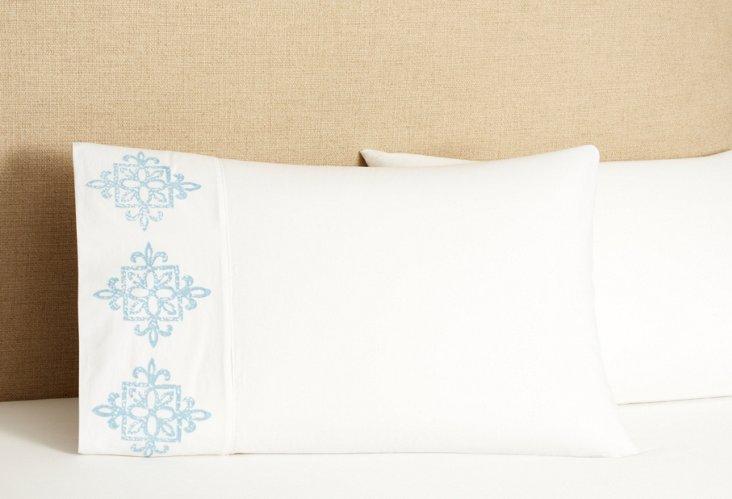 S/2 Dancer Pillowcases, Light Blue