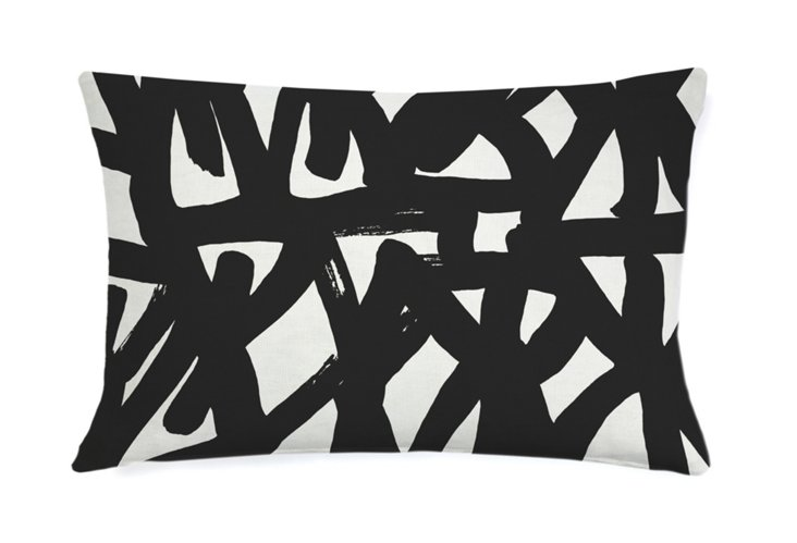 Pine Tree Abstract 16x26 Pillow, Black