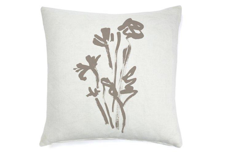 Rose Abstract 20x20 Pillow, Khaki