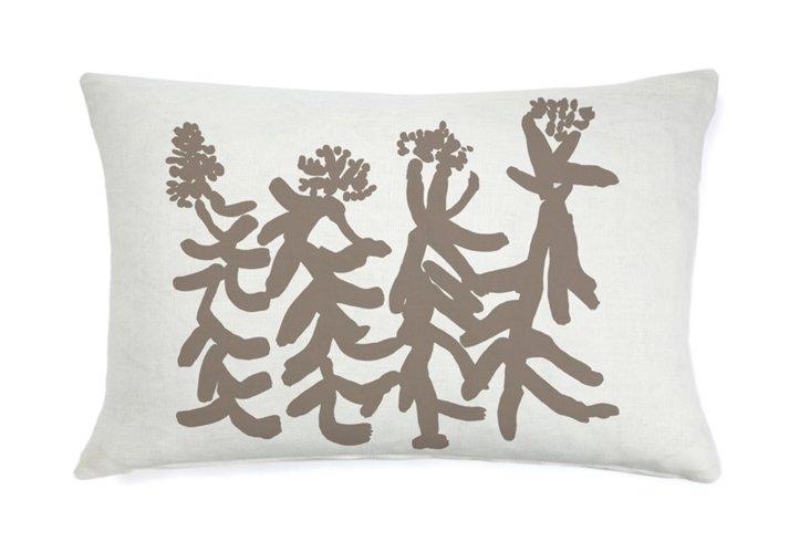 Indira People Flower 16x26 Pillow, Khaki