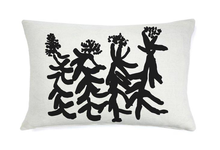 Indira People Flower 16x26 Pillow, Black
