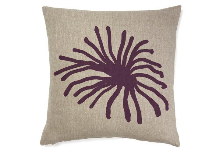Spider Mum Abstract 22x22 Pillow, Merlot