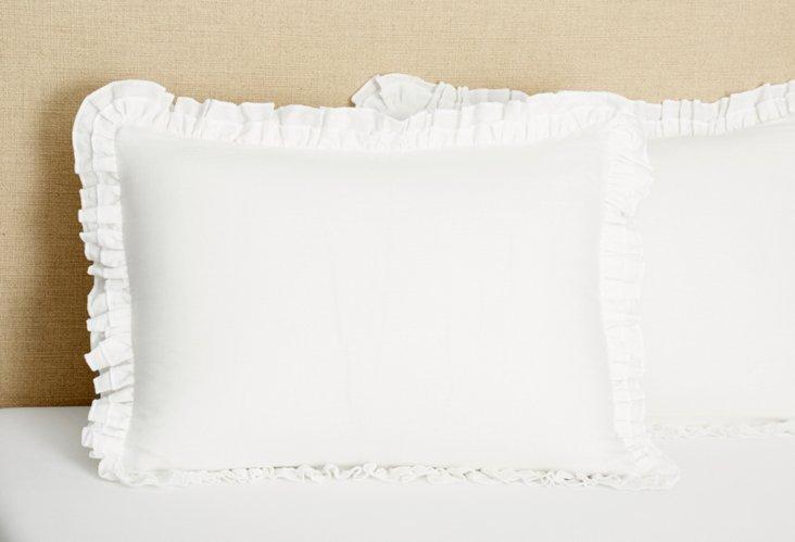 King Double Ruffle Linen Sham, White