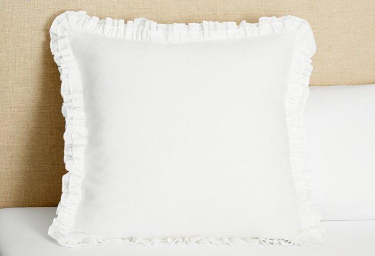 Double Ruffle Linen Euro Sham, White