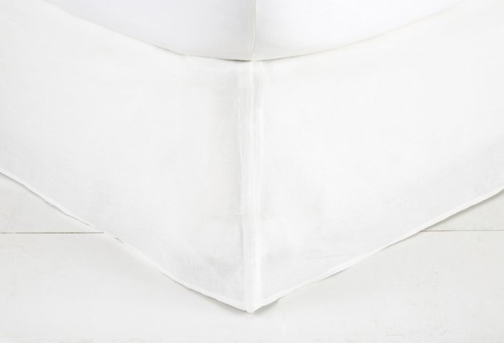 Tailored Linen Bed Skirt, White