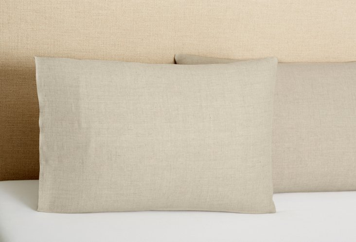 Set of 2 Tailored  Pillowcases, Natural