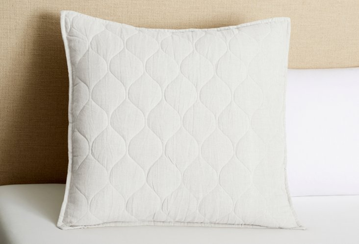 Diamond Quilted Euro Sham, Lilac Gray