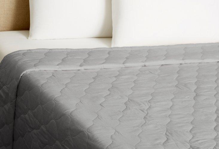 Diamond Linen Quilt, Gray