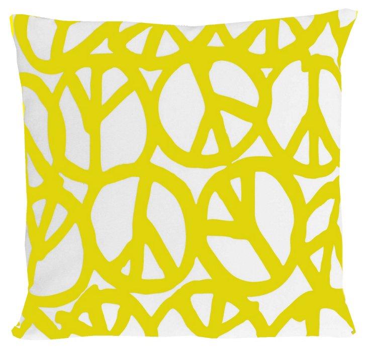Peace 20x20 Pillow, Yellow