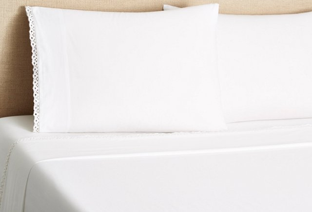 Crochet Edge Percale Sheet Set, White