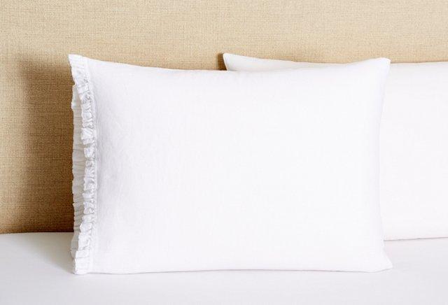 S/2 Torn Ruffle Pillowcases, White