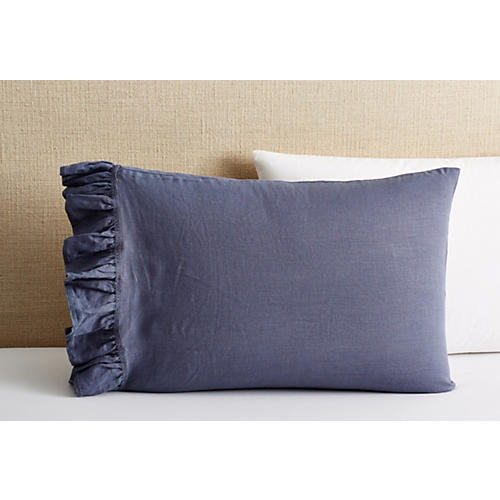 S/2 Washed Linen Pillowcases, Indigo