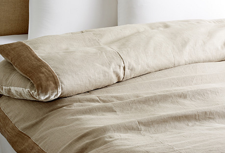 Velvet-Edge Linen Duvet, Natural