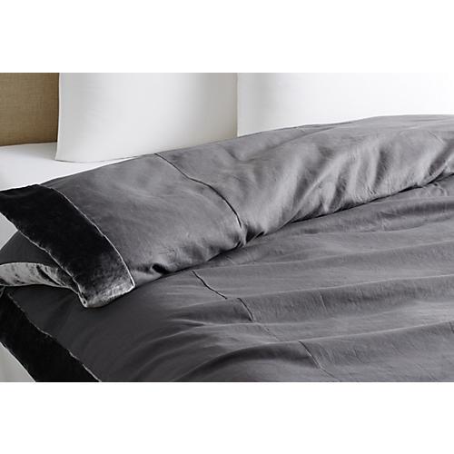 Velvet Edge Linen Duvet, Gray