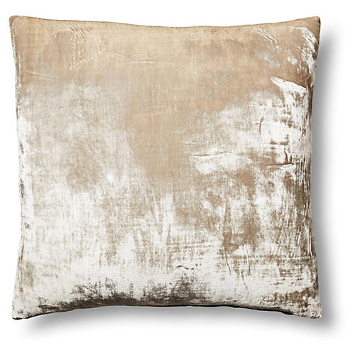 Washed-Silk Velvet 22x22 Pillow, Natural