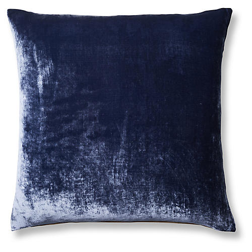 Silk Velvet 24x24 Pillow, Indigo/Natural Velvet