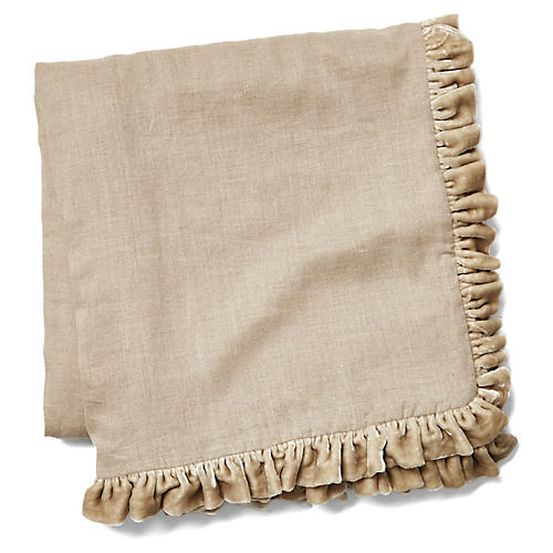 Silk Ruffle Velvet Throw, Natural